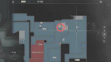 ラクーン場所警察署2F署長室前廊下MAP