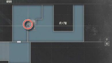 研究所B3Fポンプ室エレベーター付近MAP